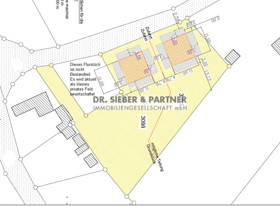 Plan mit Zeichnung Bauvoranfrage für 2 EFH