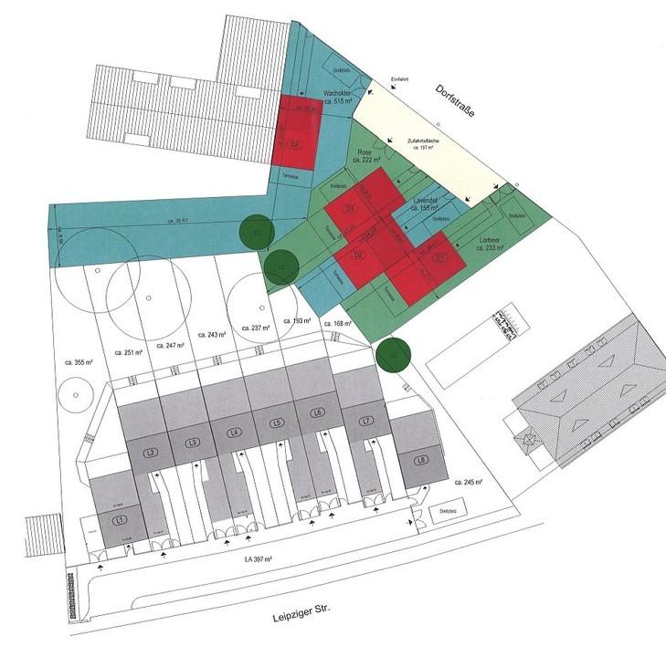 Lageplan D1-D4 farbig markier