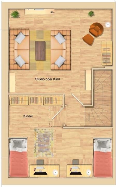 2 Zimmer im DG