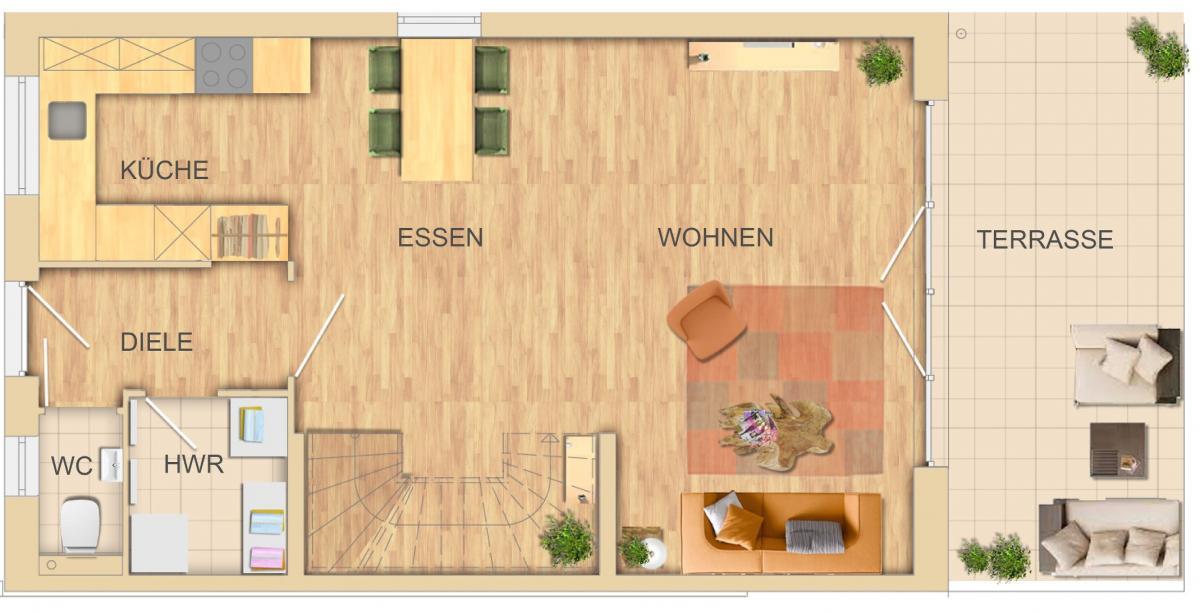 Erdgeschoss Küche offen