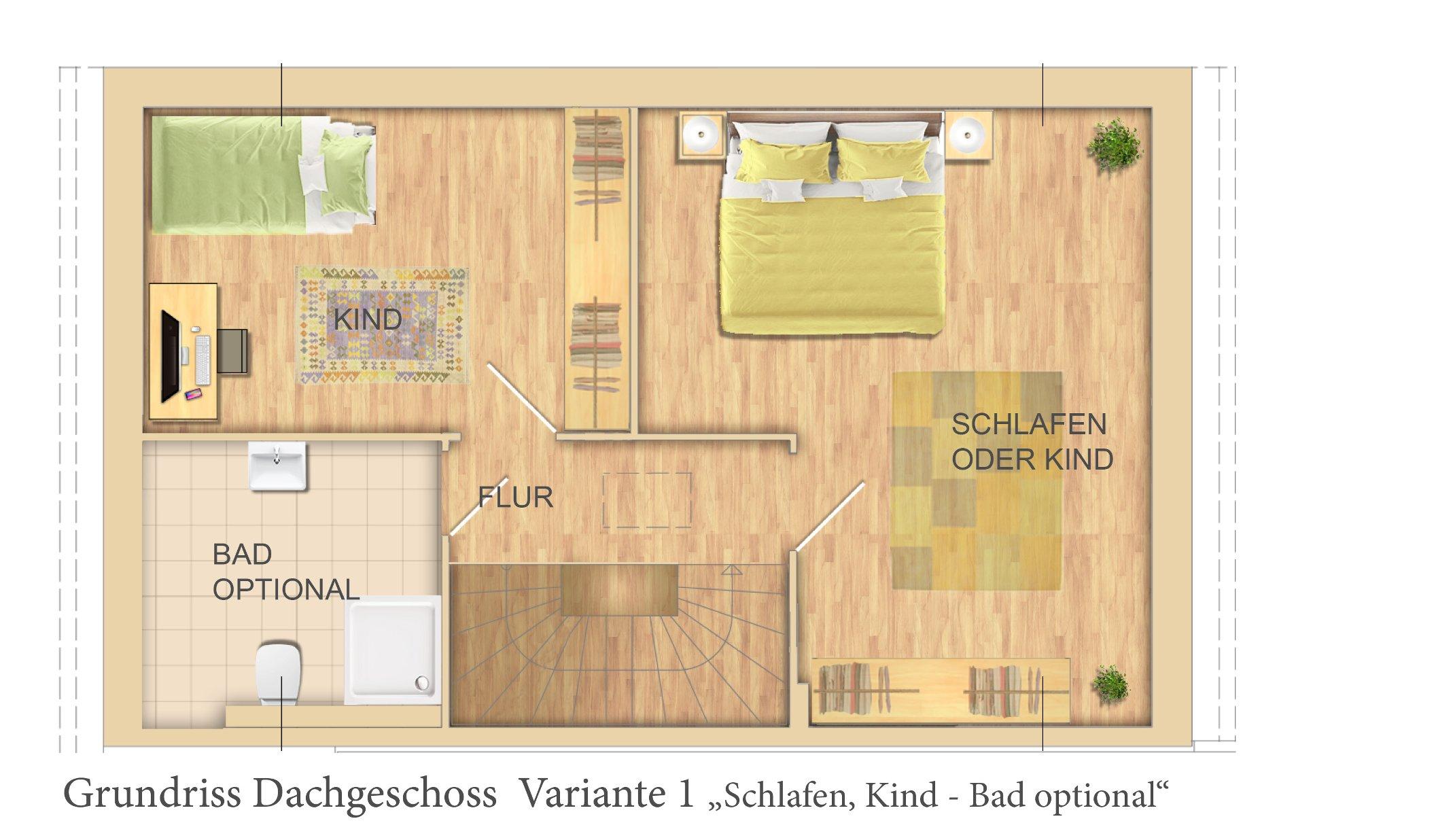 OG Variante 2 Zimmer+Bad