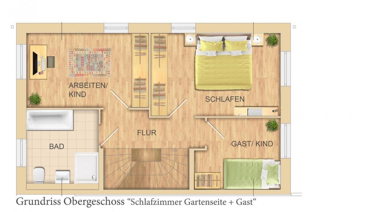 OG mit 3 Zimmern