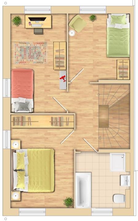 3 Schlafzimmer + Bad
